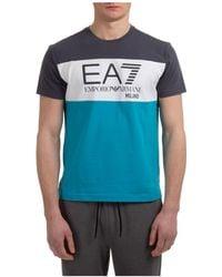 EA7 Men's Short Sleeve T-shirt Crew Neckline Sweater - Blue