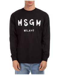 MSGM Men's Long Sleeve T-shirt Crew Neckline Logo - Black