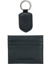 Emporio Armani Men's Genuine Leather Credit Card Case Holder Wallet - Green