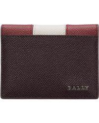 Bally Men's Genuine Leather Credit Card Case Holder Wallet Talder - Multicolour
