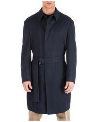 Emporio Armani Wool Coat Overcoat - Blue