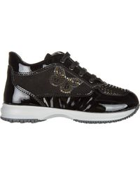 Hogan Girls Shoes Child Leather Sneakers Interactive - Black
