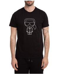 Karl Lagerfeld Men's Short Sleeve T-shirt Crew Neckline Sweater K/iconic - Black