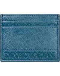 Emporio Armani - Porta carte di credito portafoglio uomo pelle - Lyst