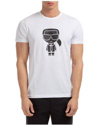 Karl Lagerfeld Men's Short Sleeve T-shirt Crew Neckline Sweater K/ikonik - White