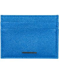 Dolce & Gabbana Men's Genuine Leather Credit Card Case Holder Wallet - Blue