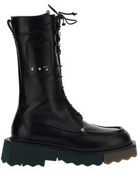 Off-White c/o Virgil Abloh Women's Leather Combat Boots Combat - Black