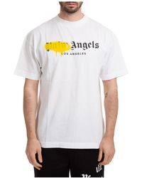 Palm Angels Men's Short Sleeve T-shirt Crew Neckline Jumper Los Angeles Sprayed - White