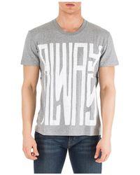 Valentino Men's Short Sleeve T-shirt Crew Neckline Sweater Always - Gray