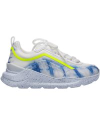 MSGM Women's Shoes Leather Trainers Trainers - Blue