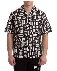 Palm Angels Men's Short Sleeve Shirt T-shirt Bowling Broken Monogram - Black