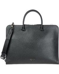 Prada - Briefcase Attaché Case Laptop Pc Bag Leather - Lyst