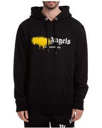 Palm Angels Men's Hoodie Sweatshirt Sweat Los Angeles Sprayed - Black