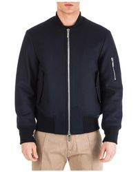 Emporio Armani Men's Wool Outerwear Jacket Blouson - Blue