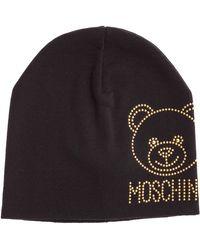 Moschino Women's Wool Beanie Hat Teddy - Black