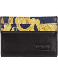 Versace Jeans Couture Men's Genuine Leather Credit Card Case Holder Wallet Logo Baroque - Blue