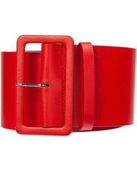 MSGM Women's Genuine Leather Belt - Red