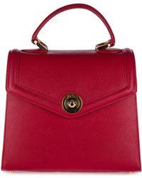 d''Este Women's Leather Handbag Shopping Bag Purse Monaco - Red