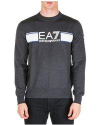 EA7 Men's Crew Neck Neckline Jumper Jumper Pullover - Grey