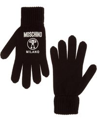 Moschino Women's Wool Gloves Double Question Mark - Black