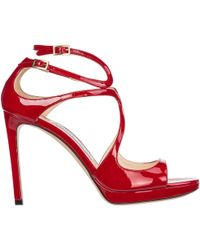 Jimmy Choo Lang Patent Strappy Sandal - Black