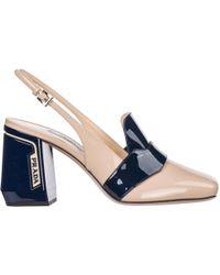 Prada Women's Leather Heel Sandals - Blue