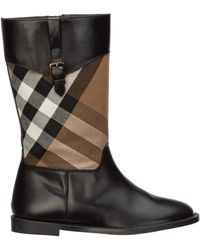 Burberry Girls Shoes Child Boots Leather - Black