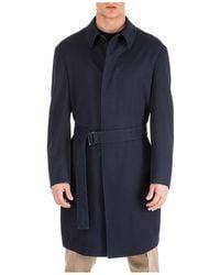 Emporio Armani Men's Wool Coat Overcoat - Blue
