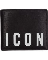 DSquared² Men's Genuine Leather Wallet Credit Card Bifold Icon - Black