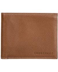Longchamp Genuine Leather Wallet Credit Card Bifold - Brown