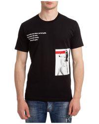 DSquared² T-shirt maglia maniche corte girocollo uomo icon x ibrahimovic - Nero