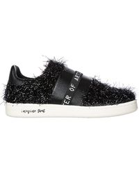 MOA Women's Leather Slip On Trainers - Black