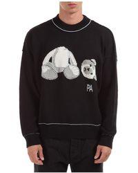 Palm Angels Men's Crew Neck Neckline Sweater Sweater Pullover Ice Bear - Black