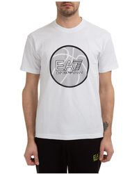 EA7 Men's Short Sleeve T-shirt Crew Neckline Sweater - White