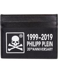 Philipp Plein Porta carte di credito portafoglio uomo pelle anniversary 20th - Nero