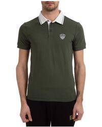 EA7 Men's Short Sleeve T-shirt Polo Collar - Green
