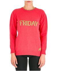 Alberta Ferretti Women's Sweater Sweater Crew Neck Round Rainbow Week Friday - Pink