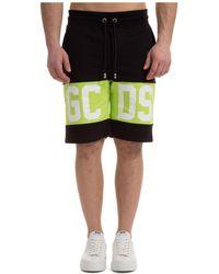 Gcds Men's Shorts Bermuda Band Logo - Black