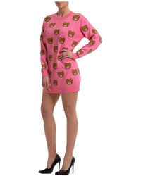 Moschino Women's Short Mini Dress Long Sleeve Teddy - Red