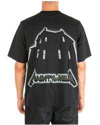 Marcelo Burlon Men's Short Sleeve T-shirt Crew Neckline Jumper Ghost House - Black