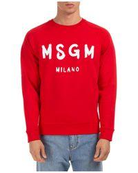 MSGM Men's Sweatshirt Sweat Logo - Red