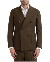 Gabriele Pasini Men's Double Breasted Jacket Blazer Amalfi - Brown