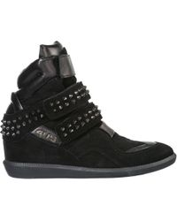 Cesare Paciotti Women's Shoes High Top Suede Sneakers Sneakers - Black