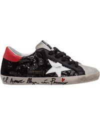 Golden Goose Scarpe sneakers donna in pelle superstar - Nero