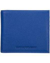 Emporio Armani Men's Genuine Leather Wallet Credit Card - Blue
