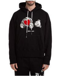 Palm Angels Men's Hoodie Sweatshirt Sweat Bear In Love - Black