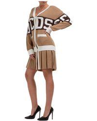 Gcds Women's Knee Length Dress Long Sleeve Logo - Multicolour