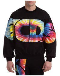 Gcds Sweatshirt Sweat Macro Tiedye Logo - Black