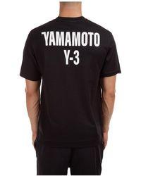 Y-3 Men's Short Sleeve T-shirt Crew Neckline Sweater - Black