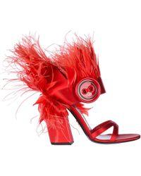 Prada Stivali Con Piume Decorative - Red